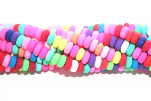 Polymer Clay Beads Strands Flat Round - Multicolor 7x3mm - 106pcs