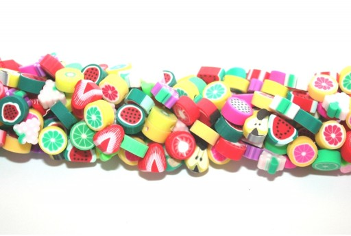Polymer Clay Beads Strands Mixed Fruit 9x7mm - 38pcs