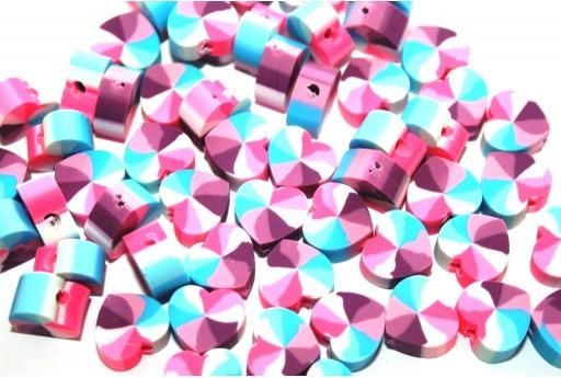 Polymer Clay Beads Heart Fantasy Purple 10x11mm - 25pcs