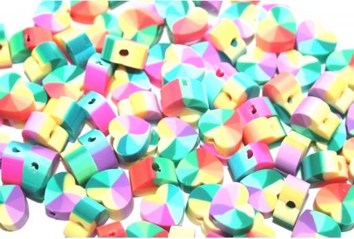 Polymer Clay Beads Heart Fantasy Yellow 10x11mm - 25pcs