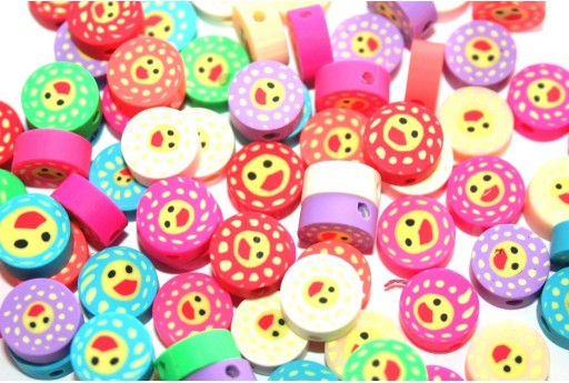 Round Polymer Clay Beads Sun - Mix Color 9x12mm - 25pcs