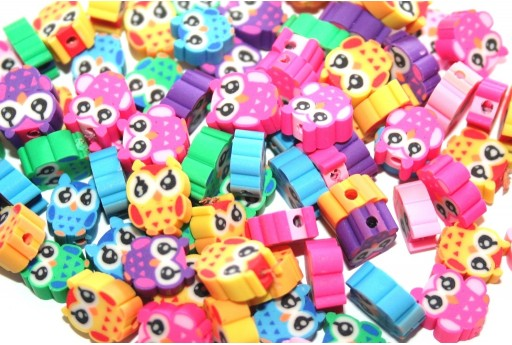 Round Polymer Clay Beads Owl - Mix Color 9x12mm - 25pcs
