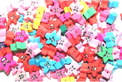 Polymer Clay Beads Star - Mix Color 9x10mm - 25pcs