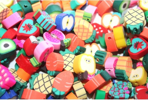 Polymer Clay Beads Mixed Fruit 10x11mm - 25pcs