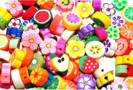Polymer Clay Beads Fruit and Flowers 10x11mm - 40pcs