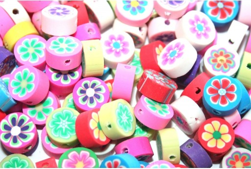 Round Polymer Clay Beads Flowers - Mix Color 10mm - 25pcs