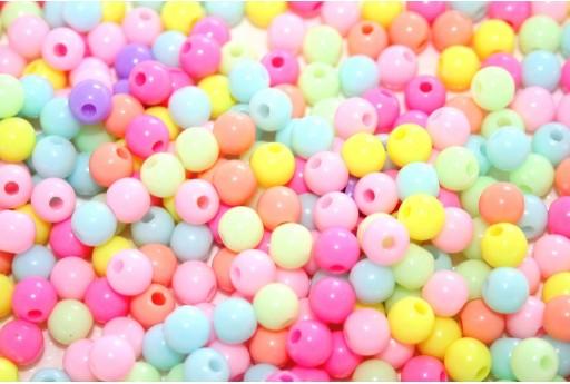 Perline in Acrilico Tondo Pastello - Mix Color 6mm - 200pz