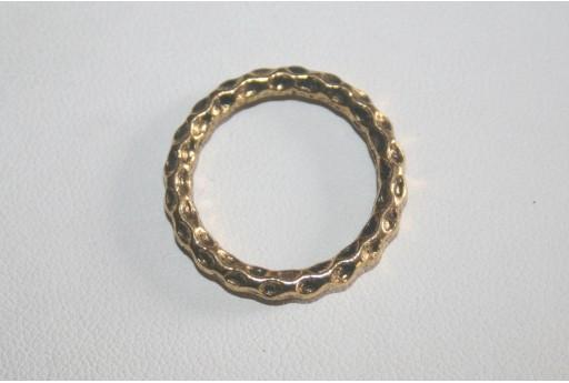 4 Cerchi Saldati Argento Tibetano Colore Oro 24mm