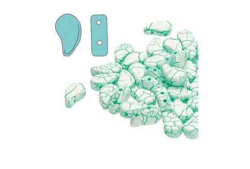 Czech Glass Beads Paisley Duo Ionic - White Green 8x5mm - 10gr