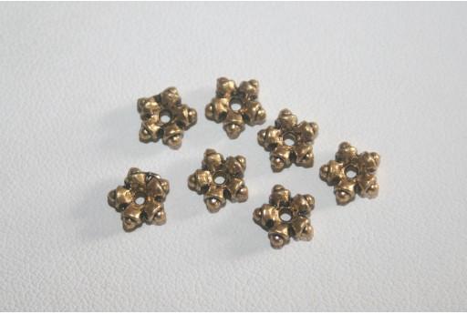 Rondelle Stella Argento Tibetano Colore Oro 7,5mm - 25pz