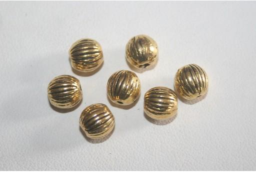 8 Palline Argento Tibetano Colore Oro 8mm