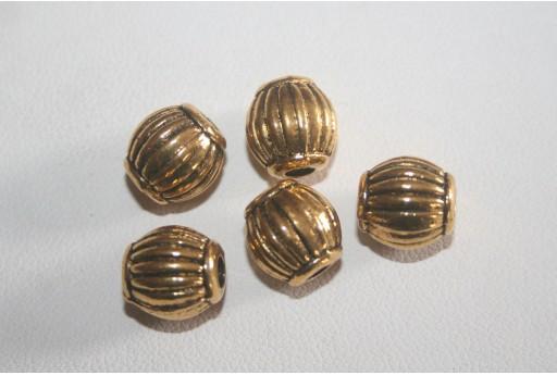 4 Barilotti Argento Tibetano Colore Oro 10x9,5mm