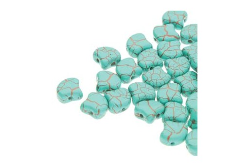 Perline Ginko - Ionic - Turquoise Green Brown 7,5x7,5mm - 10g