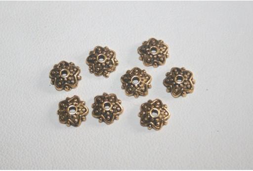 20 coppette Argento Tibetano Colore Oro 8mm