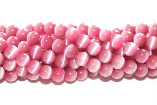 Perline Occhi di Gatto Tondo - Rosa Antico 6mm - 64pz