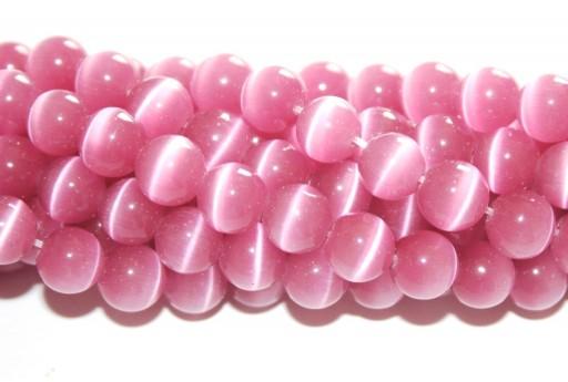 Perline Occhi di Gatto Tondo - Rosa Antico 8mm - 46pz