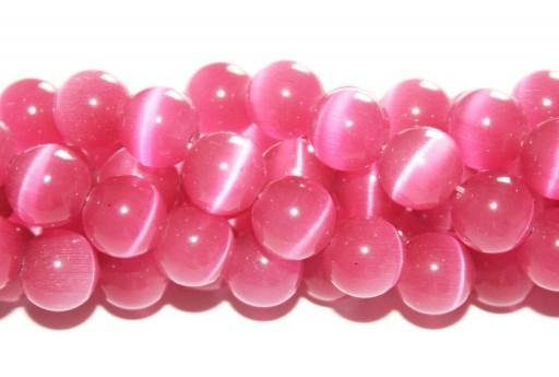 Perline Occhi di Gatto Tondo - Rosa Antico 10mm - 38pz