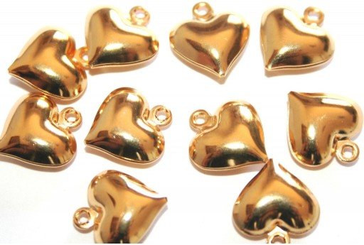 Stainless Steel Charms Heart - Gold 13x11,5mm - 2pcs