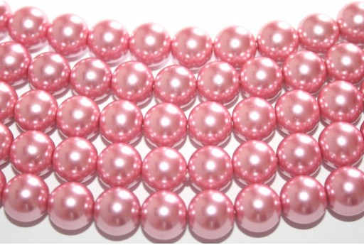 Glass Pearls Strand Antique Pink 10mm - 42pcs