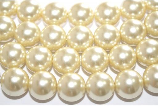 Perle Cerate Vetro Giallo Paglia 14mm - 28pz