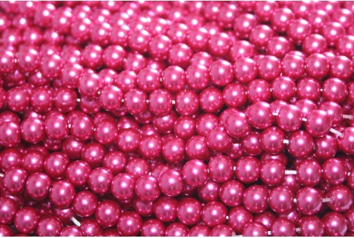 Glass Pearls Strand - Magenta 6mm - 74pcs