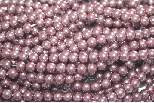 Glass Pearls Strand - Mauve 6mm - 74pcs