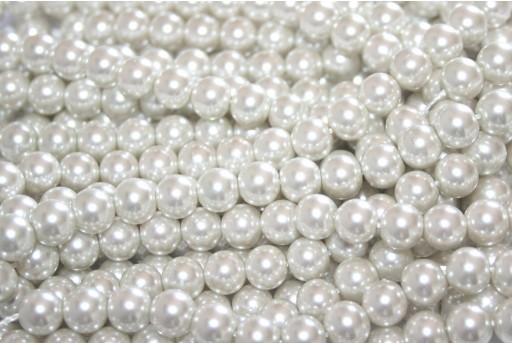 Perline Cerate Vetro - Bianco Sporco 8mm - 52pz