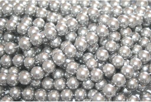 Glass Pearls Strand - Silver Gray 8mm - 52pcs