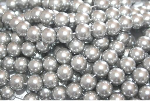 Glass Pearls Strand - Silver Gray 10mm - 42pcs