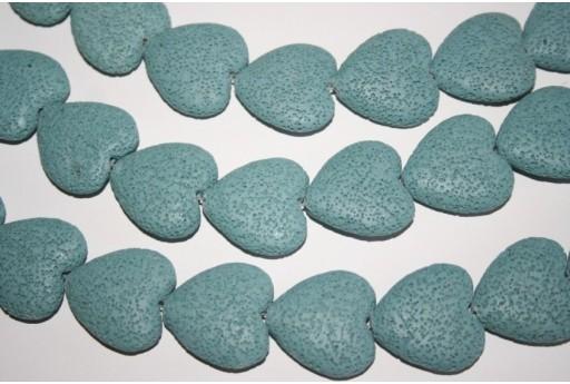 Filo Pietre Lava Azzurra Cuore 28x26mm - 15pz