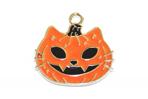 Metal Charms Halloween Cat Pumpkin Orange 21x20mm - 2pcs