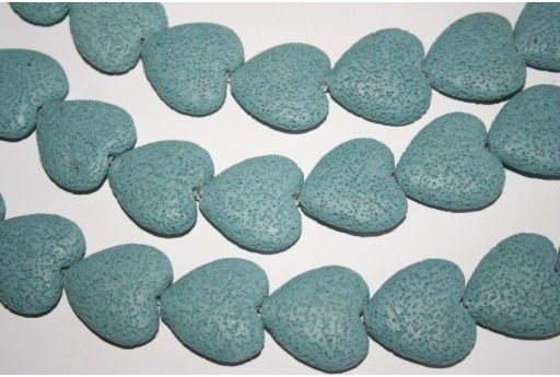 Lava Rock Beads Sky Blue Heart 28x26mm - 2pz