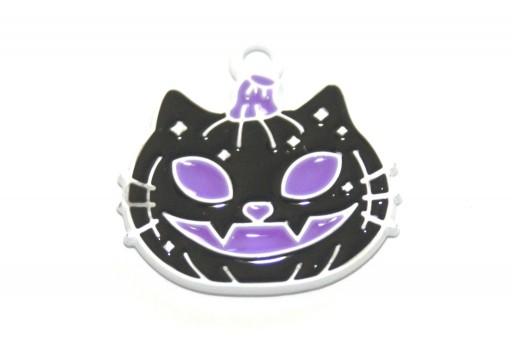 Metal Charms Halloween Cat Pumpkin Black 21x20mm - 2pcs