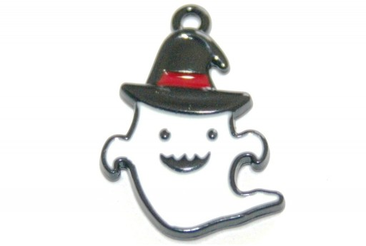 Metal Charms Halloween Ghost Black White 25x17mm - 2pcs