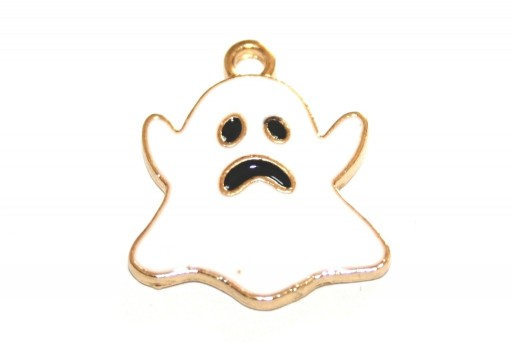 Metal Charms Halloween Ghost - White Gold 21x18mm - 2pcs
