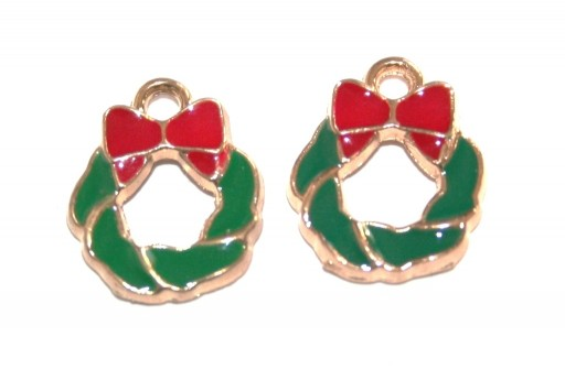 Metal Charms Christmas Wreath with Bowknot 14X12mm - 2pcs