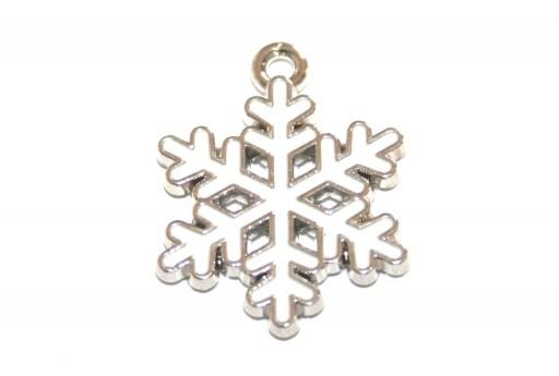 Charm di Natale Fiocco di Neve - Bianco Argento 20x17mm - 2pz