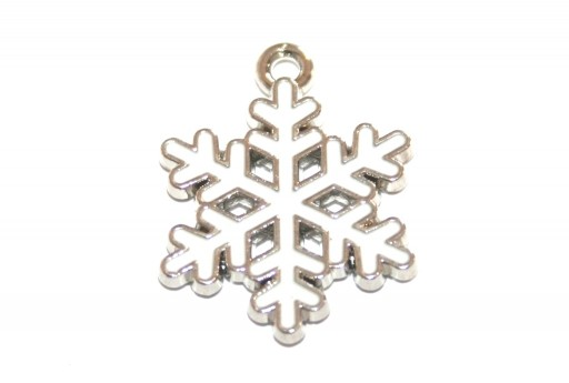 Metal Charms Christmas Snowflake - White Silver 20x17mm - 2pcs