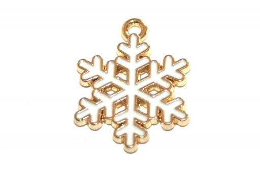 Charm di Natale Fiocco di Neve - Bianco Oro 20x17mm - 2pz