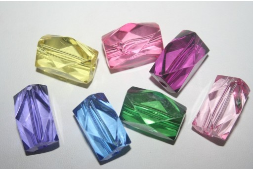 Acrylic Beads Transparent Mix Color Rectangle 22x18x17mm - 5Pz