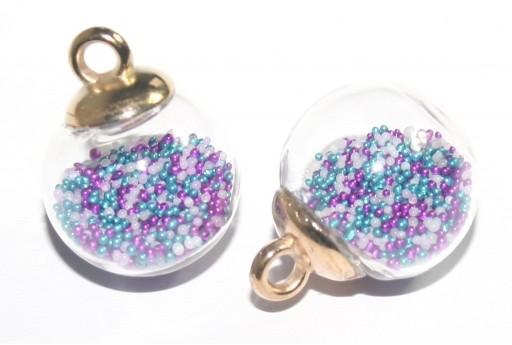 Charms Sfera in Vetro con Sabbia - Multicolor 16mm - 2pz
