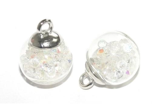 Charms Sfera in Vetro con Cristalli - Crystal AB 16mm - 2pz