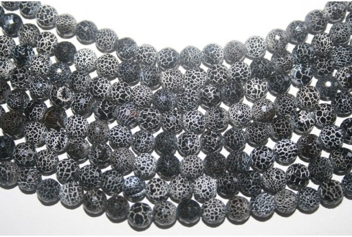 Fire Agate Beads Black Faceted Sphere 8mm - 46pz