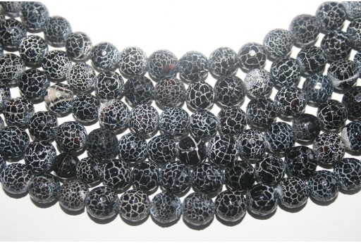 Fire Agate Beads Black Faceted Sphere 10mm - 38pz