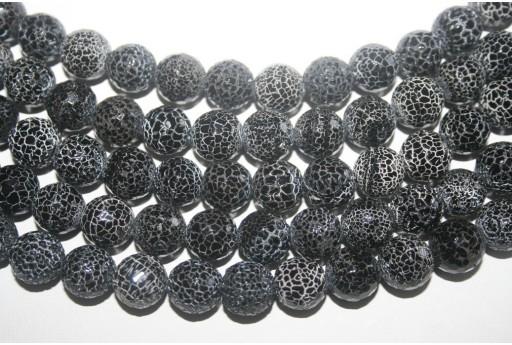 Filo 32 Pietre Agata Fuoco Nera Sfera Sfaccettata 12mm