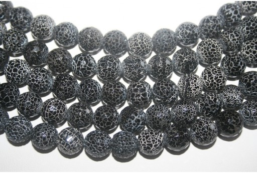 Fire Agate Beads Black Faceted Sphere 12mm - 32pz