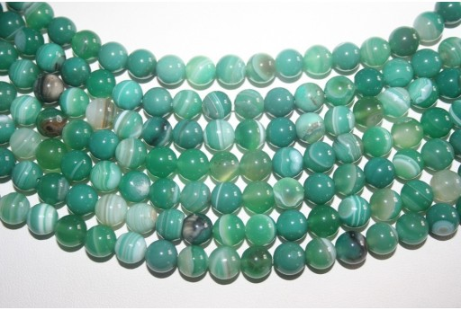 Agate Beads Veined Green Sphere 8mm - 48pz