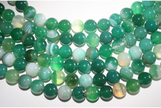 Agate Beads Veined Green Sphere 10mm - 38pz
