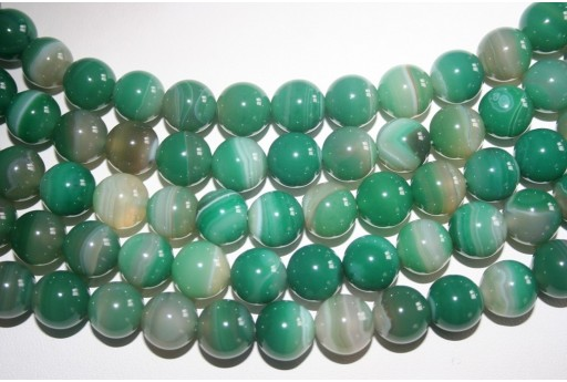 Agate Beads Veined Green Sphere 12mm - 32pz