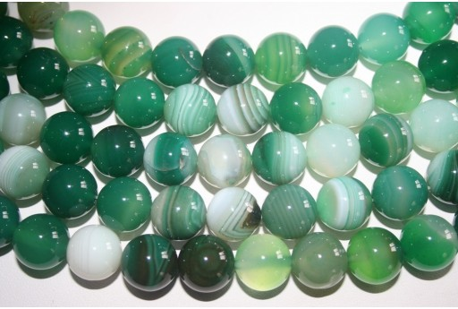 Agate Beads Veined Green Sphere 14mm - 2pz